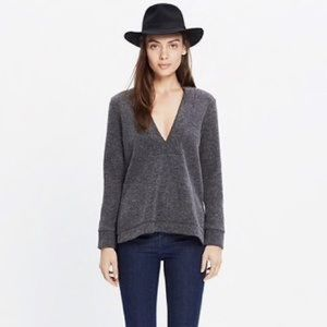 Madewell deep v pullover sweater XL gray